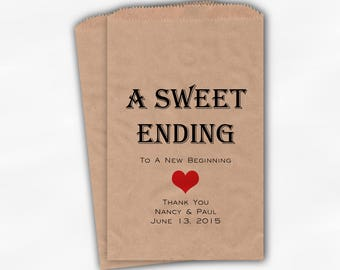 Sweet Ending New Beginning Wedding Candy Buffet Treat Bags - Personalized Favor Bags in Black and Red - Custom Kraft Paper Bags (0150)