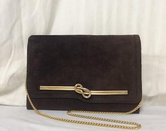 Susan Gail brown suede purse,suede, leather ,by Joseph ,shoulder bag, clutch, purse