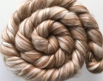 "Luxury Combed Tops ""Camelot"" spinning felting fibre Superfine Merino Baby Alpaca Babay Camel Silk 100g"