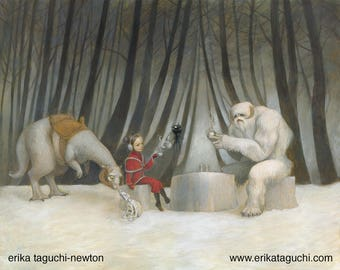 "Star Wars 16x12 Fine Art Print, Wampa Painting, Tauntaun Art, ""Teatime with Wampa"""