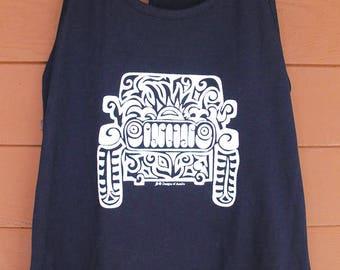 JEEP Tribal Tattoo LADIES Racerback Tank (S-XL) - Black with white Imprint