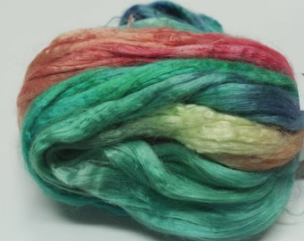 4 oz Hand painted Bamboo combed top spinning fiber - New Southwest