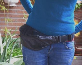 Fanny pack leather,black belt bag,leather waist bag,hip leather bag,black leather bag, belt bag,rider bag,black leather fanny,zipper waist