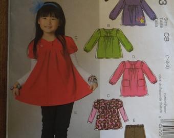 McCalls M6153, sizes 1-3, toddlers, childrens, top, dress, leggings, UNCUT sewing pattern