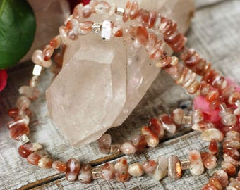 """35"""" Natural Oregon Sunstone Rope Necklace with a Sterling Silver Clasp"""