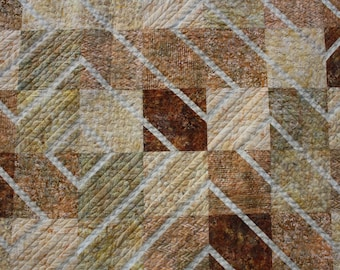 Quilt, Double, Queen, Gold, Geometric, Maze, Batik