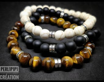 """Bracelet set Simply the """"ClassiBeads"""" Onyx, turquoise or Tiger eye beads"""