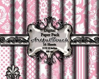 Light Pink Digital Paper, Digital Scrapbook Paper Pack, Light Pink Damask, Pink Digital Background, Pink Birthday Paper, INSTANT DOWNLOAD