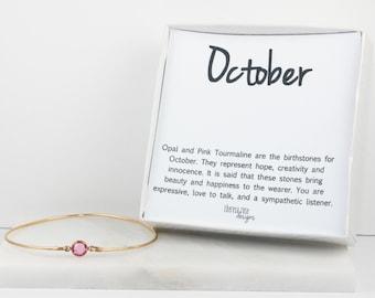 October Birthstone Swarovski Rose Pink Gold Bangle Bracelet, Gold Bracelet, Rose Bangle Bracelet, October Birthstone Bracelet #773
