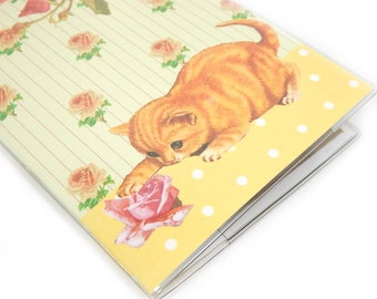 Passport Cover - Curious Kitten - Victorian cat and roses passport holder - cute and sweet orange tabby travel accessory
