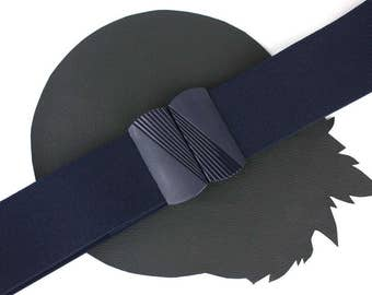 Navy Vintage Elastic Belt adjustable up to 39 inches