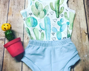 Cactus Tank Top and Shorts Baby Set