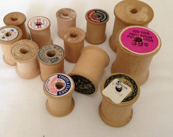 Wood, Wood Spools, Spool Thread,, Notons, sewing, Crafts