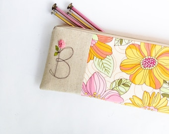Personalized Knitting Needle Case, Knitting Project Bag, Large Zipper Pouch, Project Bag, Gift for Knitter, Knitting Needle Storage