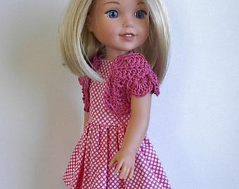 """14.5"""" Doll Clothes Sleeveless Cotton Dress and Crocheted Bolero Shrug Handmade to fit Wellie Wishers Dolls - Pink and White Polka Dots"""