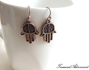 Hamsa Earrings, Antiqued copper tone, Hand of Fatima Earrings, Evil Eye protection, birthday gift present, thank you gift, Ramadan Eid gift