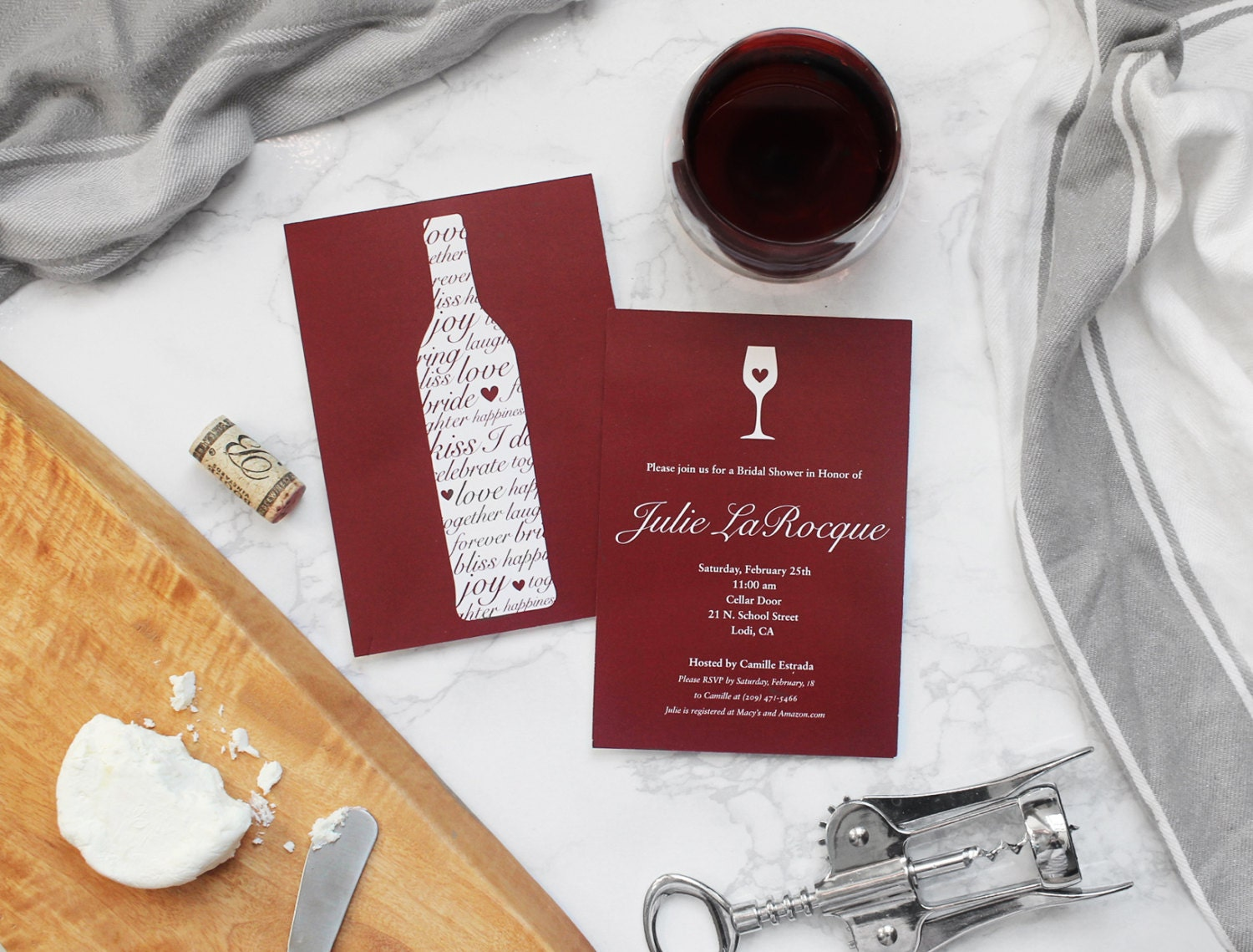 Wine Themed Bridal Shower Invitation Customizable and