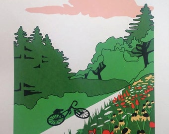 Bike & Wildflower Meadow Landscape Screenprint