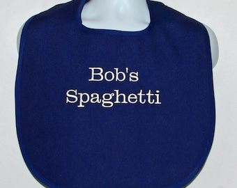 Spaghetti Bib, Custom Funny Adult Bib, Canvas, Clothing Cover Up Protector, Personalized With Name, No Shipping Fee, Ready To Ship TODAY 133