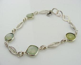 Sky Blue Chalcedony Filigree Sterling Silver Bracelet