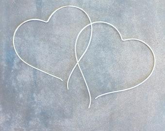 Large heart hoops, heart threader, silver heart hoops, silver heart earrings, big heart earrings, wire heart earrings, open heart