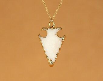 Druzy arrowhead necklace - crystal arrowhead - gold spike necklace - a gold lined druzy spear on a 14k gold vermeil chain - SALE
