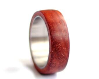 Padouk Wood Band, Stainless Steel Wedding Ring, Titanium Mens Wedding Band, Wood Mens Ring,