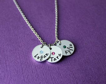 Personalized Name Birthstone Charm Necklace - Choose How Many Charms - Custom Name Birthstone Charms Jewelry  Kids Names Birthstones Jewelry