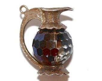 Vintage Pitcher Sterling Silver Bracelet Charm / Crystal Set (7.4g)