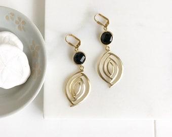 Black and Gold Dangle Earrings. Black Earrings. Jewelry. Drop Earrings. Dangle Earrings. Gift for Her. Black Earrings. Jewelry.