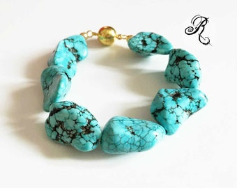 Boho-bracelet with blue turquoise semiprecious chunky nuggets