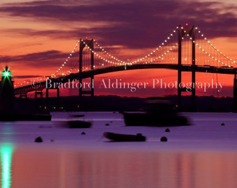 Sunset over Newport Bridge in Early Summer - Photograph