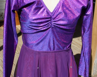 Dance Costume, 3 in 1, Ballroom, Rhythm, Standard, Latin, Long Sleeves, Size L, Red,Purple,Crystals,Chiffon,Quick Change, FREE US Shipping