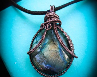 Labradorite Copper Wire Wrapped Necklace Pendant - Handmade and Gift wrapped for you for the Holidays!