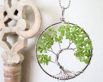 Peridot Tree of Life Necklace August Birthstone Peridot Wire Tree Silver Pendant Necklace Birthday Gift for Mom Gift for Sister Girlfriend