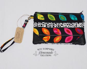 Colorful Leaves Fabric with Black Leather Accent - Double Zip Pouch - Clutch - phone purse