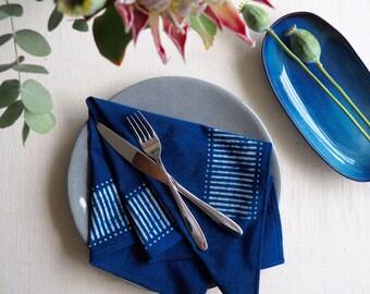 Block print napkins, Indigo napkins, Cotton napkins, Handmade napkins, Table napkins, Housewarming gift