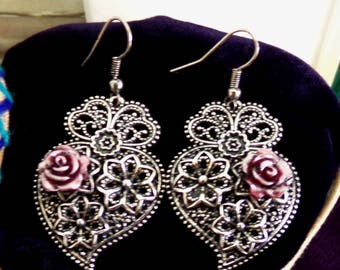 Viana Hearts rose Portuguese earrings