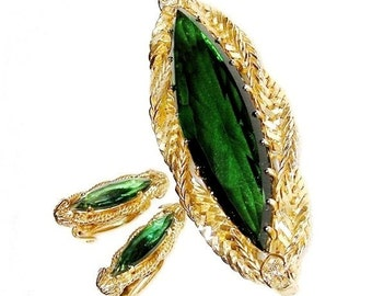 Continental Emerald Glass Brooch and Earring Set