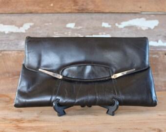 1980 s noir embrayage | Bourse en cuir enveloppe surdimensionné