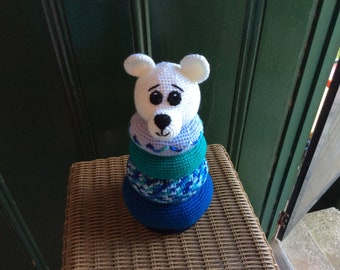 Baby shower Polar Bear Ring Stacker, Crochet