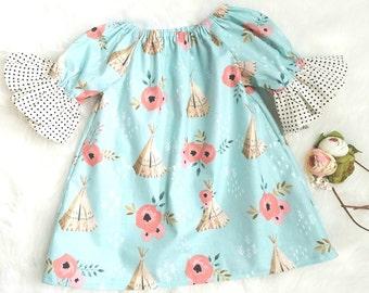 Baby Girls Boho Dress-Girls Boho dress-baby girls peasant dress- Toddler Boho dress-girls Easter dress-girls blue dress-sizes NB to 8