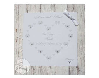 Handmade Personalised Ninth Wedding Anniversary Card 9th Pottery Heart Marriage Gift