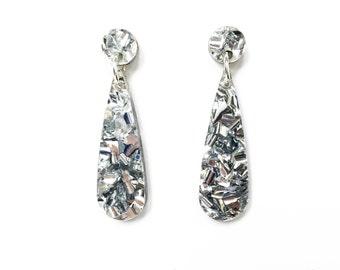 Silver glitter narrow drop earrings, silver earrings, laser cut earrings, silver glitter earrings, geometric earrings