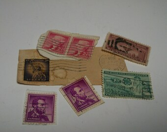 Vintage US Cancelled Postage Stamps 1950's For Altered Art, Mixed Media, Jewelry, Collage and Scrap booking, crafting