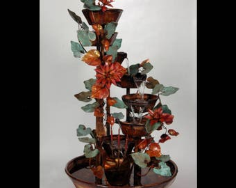 """Large 48"""" tall 7 Tier, 4 - Four Ft. Tall Copper Waterfall Fountain with Spiraling Bowls, and Water Lily Flowers and Ivy Leaf (Leaves) Decor"""