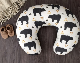 Bears & Triangles beige, brown charcoal ivory boppy pillow cover with long zipper (#0265)