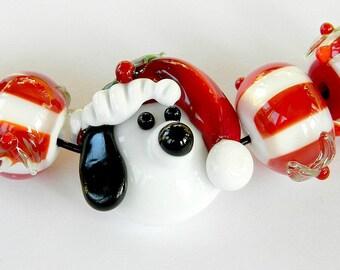 Handmade Lampwork Christmas Beagle glass beads Holiday