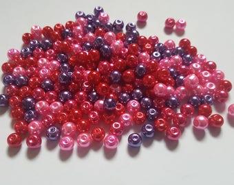 Valentines pearl mix, Glass pearl mix, Glass pearl beads, Bead mix, Bead soup, Glass pearls, Glass beads, Pearl beads, Jewellery making