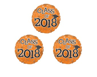 Set of 3 CLASS OF 2018 Orange Graduation Party Balloons Decoration Supplies